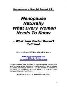 Menopause Naturally What Every Woman Needs To Know