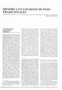 MENORCA EN LOS RITOS DE PASO TRADICIONALES