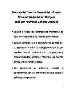 Mensaje del Director General del Infonavit Mtro. Alejandro Murat Hinojosa en la 107 Asamblea General Ordinaria