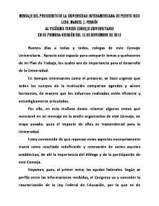 MENSAJE DEL PRESIDENTE DE LA UNIVERSIDAD INTERAMERICANA DE PUERTO RICO LCDO. MANUEL J