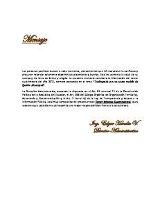 Mensaje. Ing. Edgar Heredia V. Director Administrativo