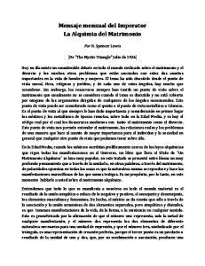 Mensaje mensual del Imperator La Alquimia del Matrimonio