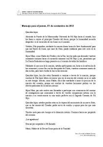 Mensaje para el jueves, 01 de noviembre de 2012