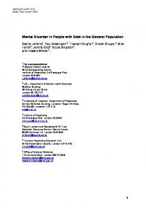 Mental Disorder in People with Debt in the General Population