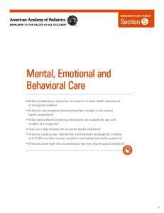Mental, Emotional and Behavioral Care
