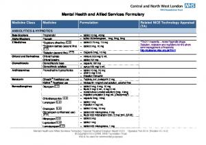 Mental Health and Allied Services Formulary