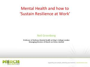 Mental Health and how to Sustain Resilience at Work