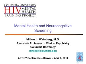 Mental Health and Neurocognitive Screening