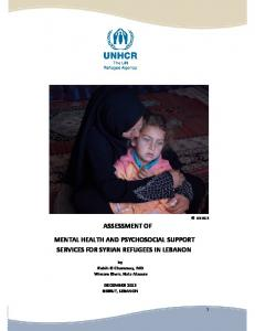 MENTAL HEALTH AND PSYCHOSOCIAL SUPPORT SERVICES FOR SYRIAN REFUGEES IN LEBANON