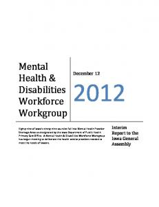 Mental Health & Disabilities Workforce Workgroup