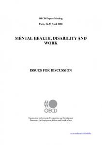 MENTAL HEALTH, DISABILITY AND WORK