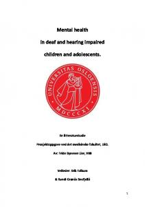 Mental health. in deaf and hearing impaired. children and adolescents
