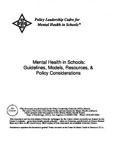 Mental Health in Schools: Guidelines, Models, Resources, & Policy Considerations