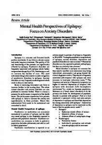 Mental Health Perspectives of Epilepsy: Focus on Anxiety Disorders