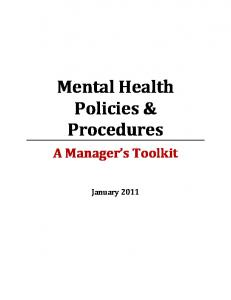 Mental Health Policies & Procedures. A Manager s Toolkit