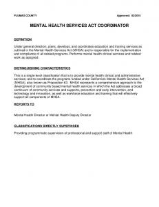 MENTAL HEALTH SERVICES ACT COORDINATOR