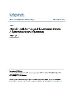 Mental Health Services and the American Inmate: A Systematic Review of Literature