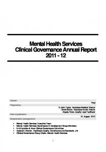 Mental Health Services Clinical Governance Annual Report