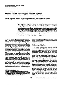Mental Health Stereotypes About Gay Men