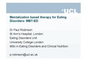 Mentalization based therapy for Eating Disorders: MBT-ED