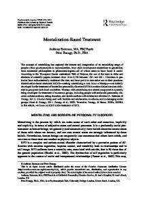 Mentalization-Based Treatment