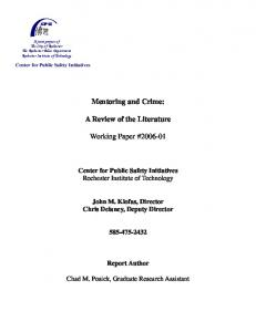 Mentoring and Crime: A Review of the Literature. Working Paper #