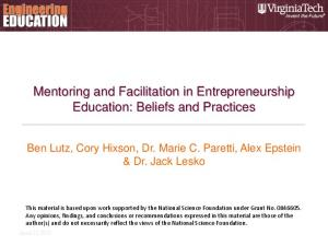 Mentoring and Facilitation in Entrepreneurship Education: Beliefs and Practices