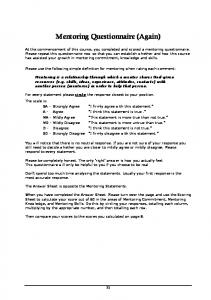 Mentoring Questionnaire (Again)