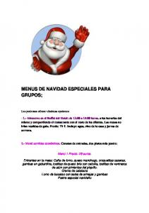 MENUS DE NAVIDAD ESPECIALES PARA GRUPOS;