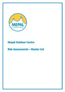 Mepal Outdoor Centre. Risk Assessments Master List