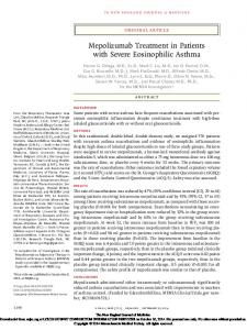 Mepolizumab Treatment in Patients with Severe Eosinophilic Asthma
