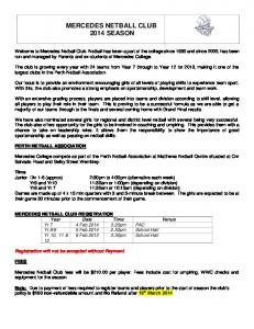 MERCEDES NETBALL CLUB 2014 SEASON
