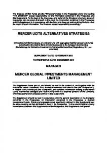 MERCER UCITS ALTERNATIVES STRATEGIES MERCER GLOBAL INVESTMENTS MANAGEMENT LIMITED