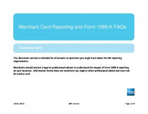 Merchant Card Reporting and Form 1099-K FAQs