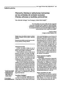 Mercurio, ftalatos y radiaciones ionizantes en las unidades de cuidado neonatal. Efectos adversos y medidas preventivas