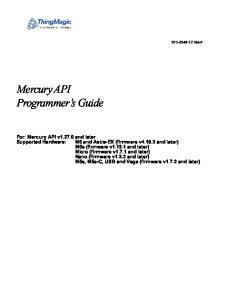 Mercury API Programmer s Guide