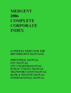 MERGENT 2006 COMPLETE CORPORATE INDEX