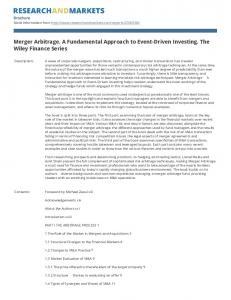 Merger Arbitrage. A Fundamental Approach to Event-Driven Investing. The Wiley Finance Series
