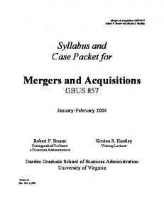 Mergers and Acquisitions GBUS 857