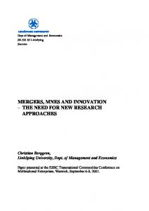 MERGERS, MNES AND INNOVATION THE NEED FOR NEW RESEARCH APPROACHES