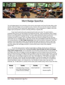 Merit Badge Specifics