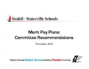 Merit Pay Plans: Committee Recommendations. November 2016