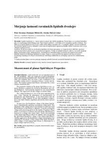 Merjenje lastnosti ravninskih lipidnih dvoslojev