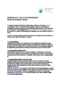 MERKBLATT: DIE ELEKTRONISCHE AUSFUHRANMELDUNG