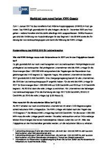 Merkblatt zum novellierten KWK-Gesetz