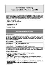 Merkblatt zur Erstellung wissenschaftlicher Arbeiten am IPMZ