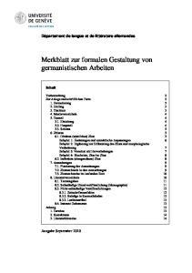 Merkblatt zur formalen Gestaltung von germanistischen Arbeiten