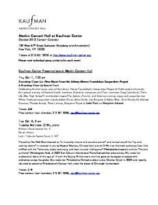 Merkin Concert Hall at Kaufman Center October 2012 Concert Calendar