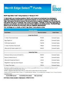 Merrill Edge Select TM Funds