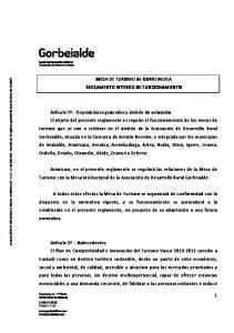MESA DE TURISMO de GORBEIALDEA REGLAMENTO INTERNO DE FUNCIONAMIENTO